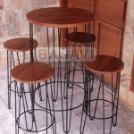 Meja Kursi Set Cafe Bar Resto Custom Kayu Jati Asli Besi Industrial