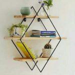 Rak dinding kayu besi minimalis Rak pajangan gantung hiasan dinding