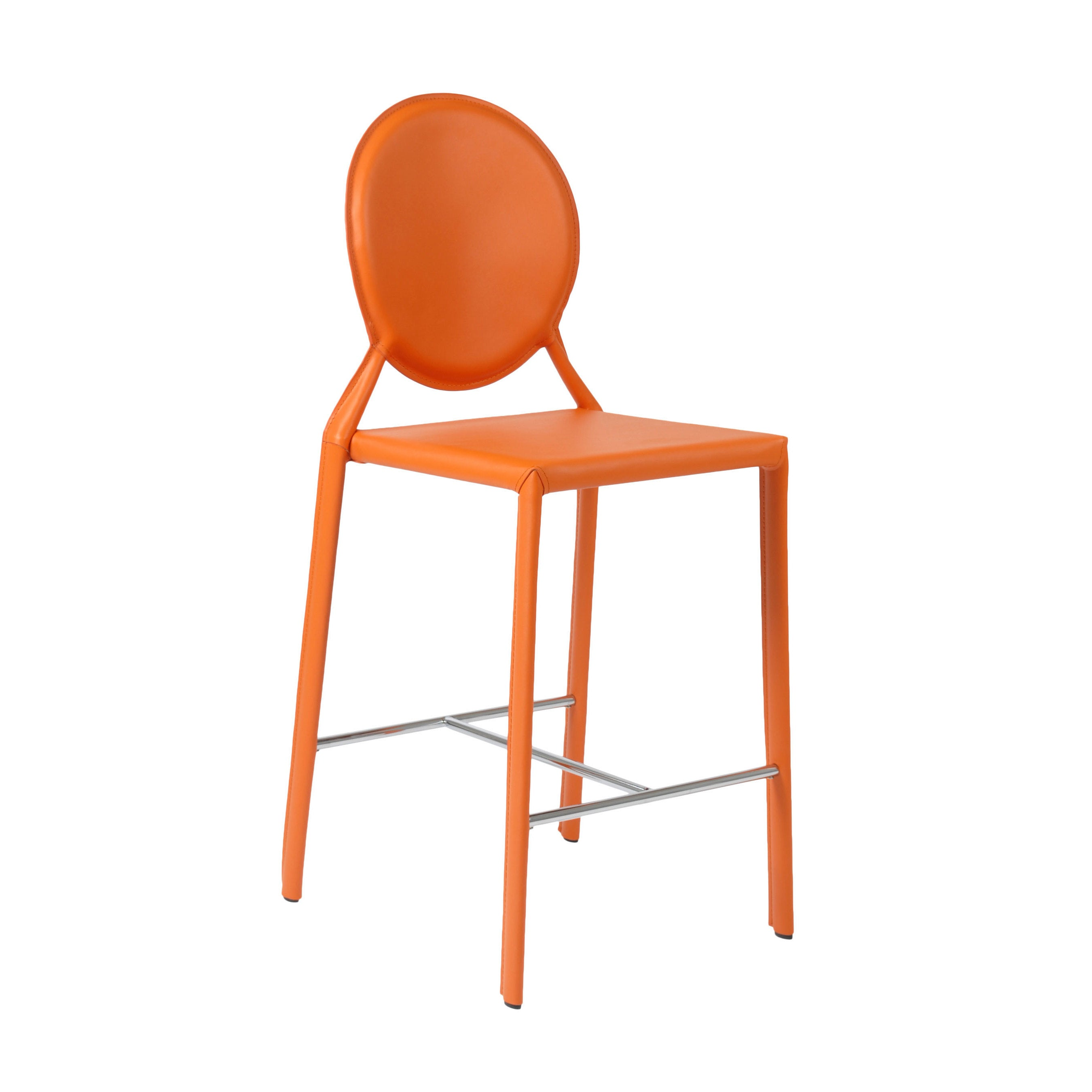Isabella Orange Leather Counter Chair