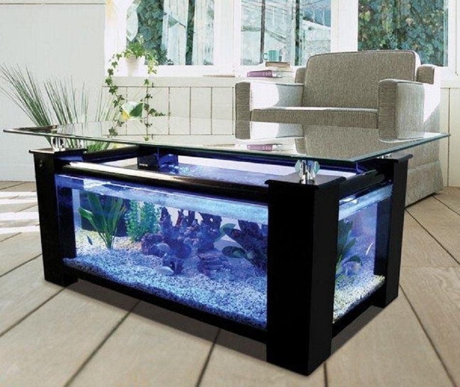 Meja Aquarium Minimalis dengan lampu-lampu cantik