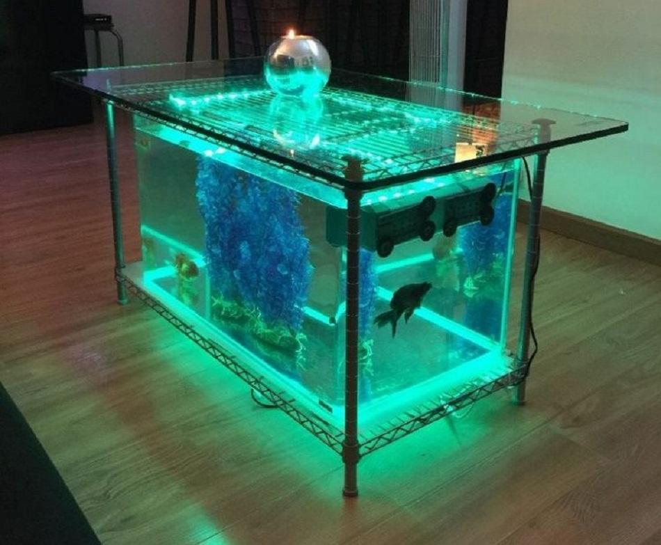 Meja aquarium besi minimalis
