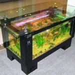 Meja aquarium besi siku