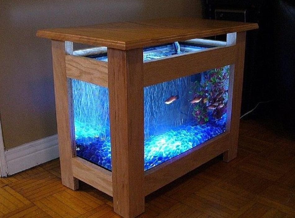 Meja aquarium kayu minimalis