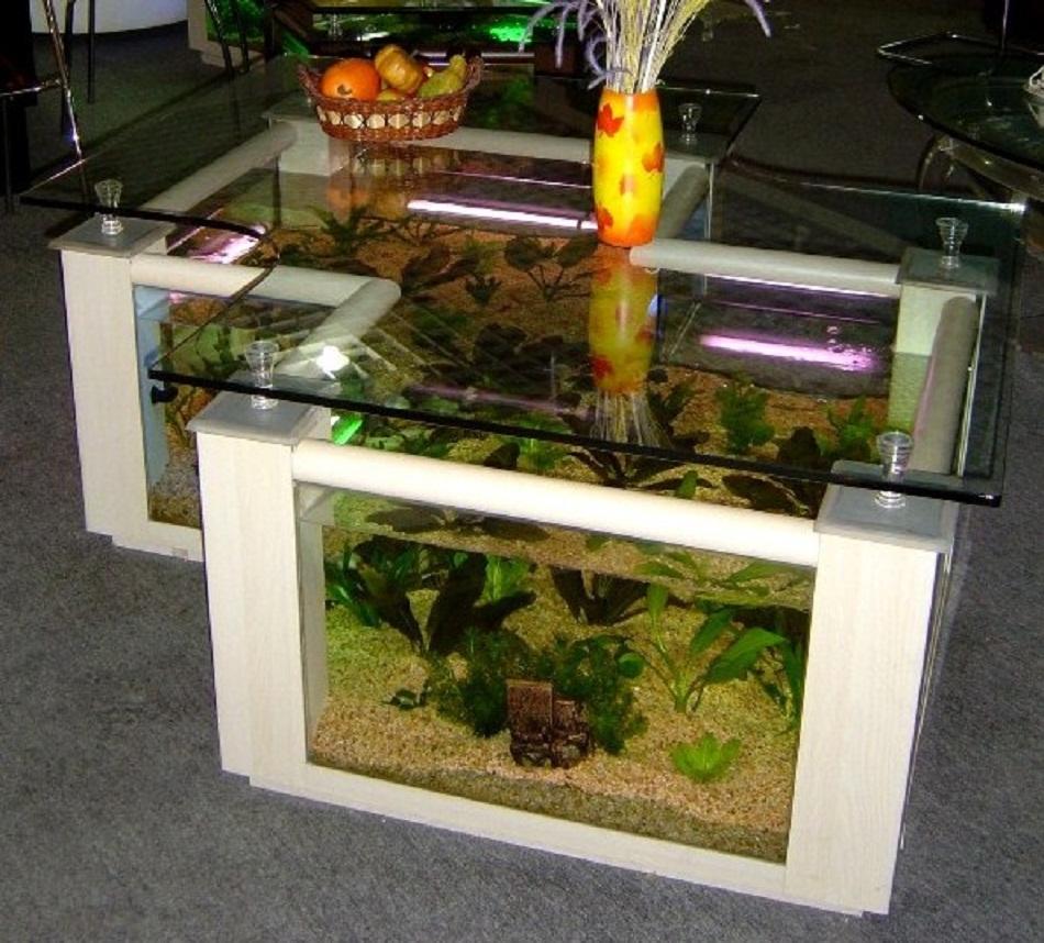 Meja aquarium kayu palet