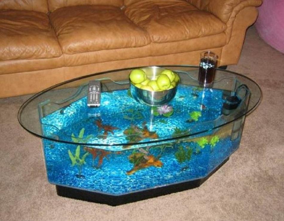 Meja aquarium minimalis bentuk oval