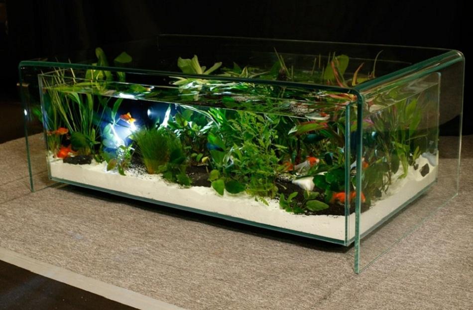 Meja aquarium minimalis full kaca