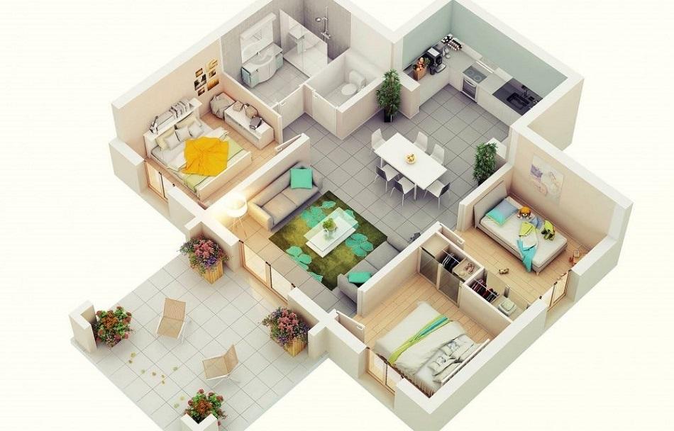 Denah Rumah Minimalis 6 x12
