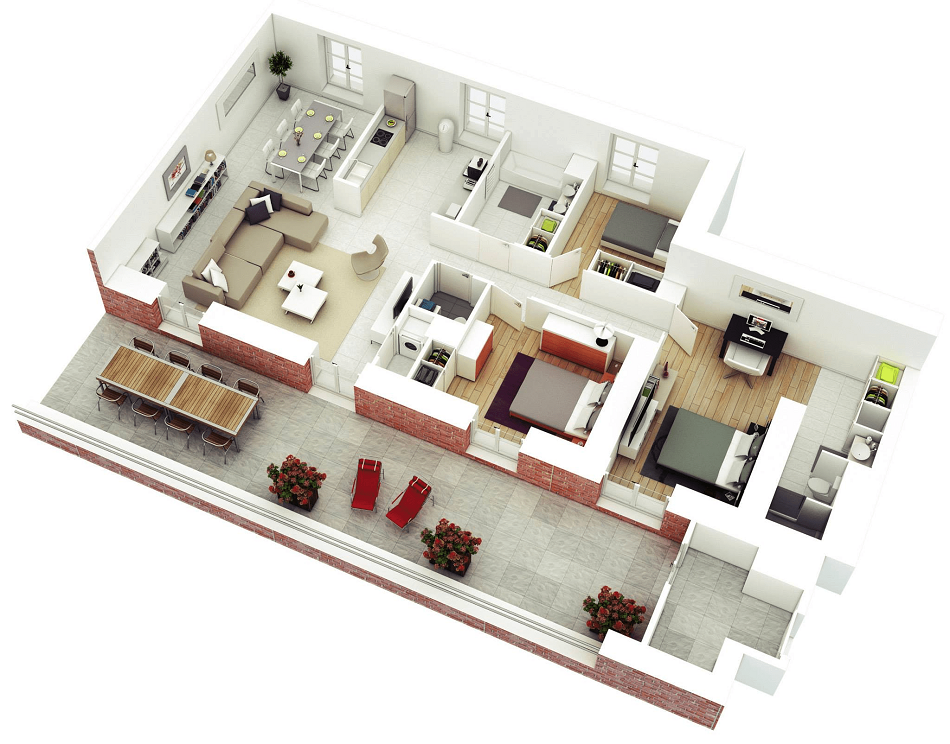Denah Rumah Minimalis Ukuran 6x10