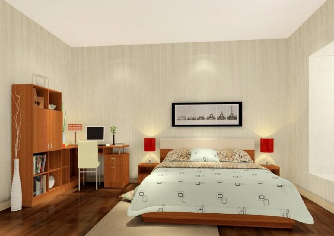 Kamar Tidur Elegan dengan Penataan Perabot Sederhana