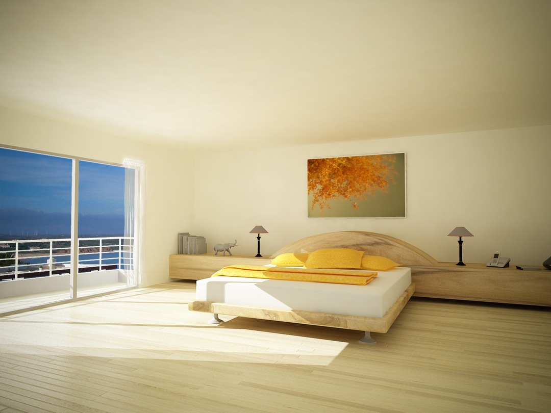 Ruang Kamar Tidur Polos dengan Satu Lukisan